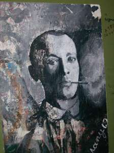 Portrait of Mikhail Bulgakov, graffiti from the stairwell of the Bulgakov House, photo taken December, 2010