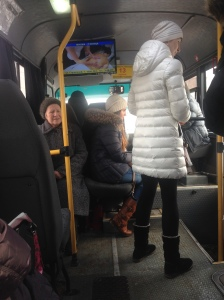 A covertly taken picture from the inside of a bus today. Notice the charming babushka on the left- she was laughing and joking with a man on the bus. Another plus to public transport: a great place to eavesdrop.